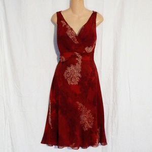 Ann Taylor Sleeveless Damask/Floral Dress Sz 14